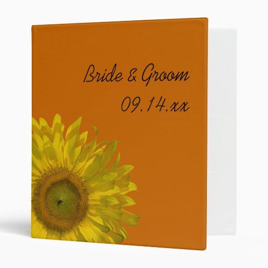Yellow Sunflower on Orange Wedding Binder
