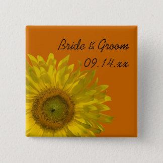 Yellow Sunflower on Orange Wedding Button