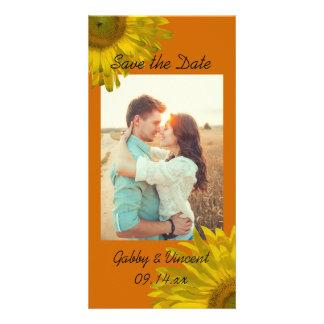 Yellow Sunflower on Orange Wedding Save the Date Card
