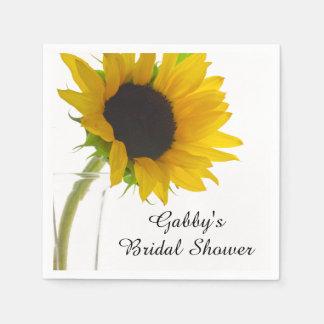 Yellow Sunflower on White Bridal Shower Napkins Standard Cocktail Napkin