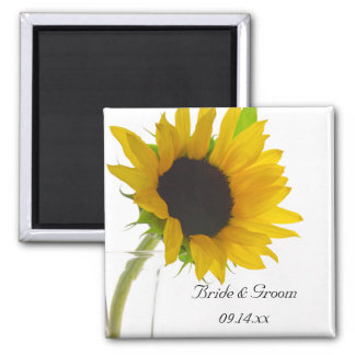 Yellow Sunflower on White Save the Date Wedding 2 Inch Square Magnet