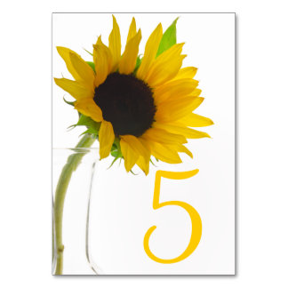 Yellow Sunflower on White Table Numbers Card