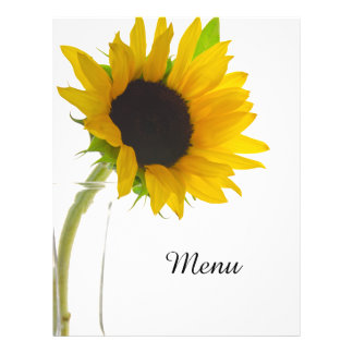 Yellow Sunflower on White Wedding Menu Custom Flyer