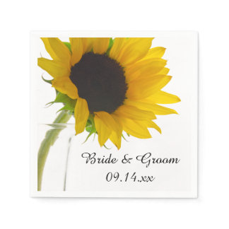 Yellow Sunflower on White Wedding Paper Napkins