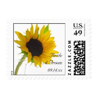 Yellow Sunflower on White Wedding Postage