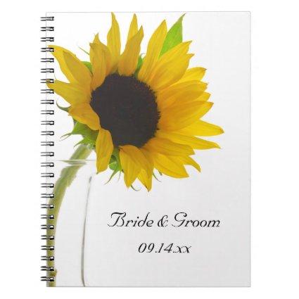Yellow Sunflower on White Wedding Spiral Notebook