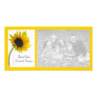 Yellow Sunflower on White Wedding Thank You Card