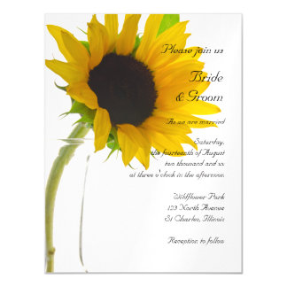 Yellow Sunflower on White Wedding Magnetic Invitations