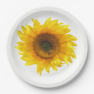 yellow sunflower paper plate