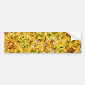 Yellow sunflower pattern car bumper sticker