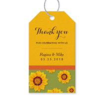 Yellow Sunflower Pattern Party Favors Gift Tags