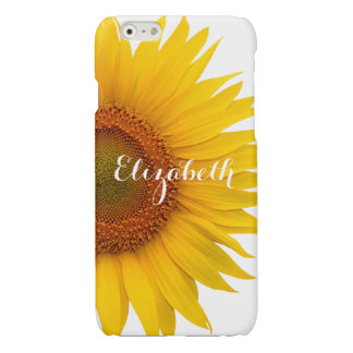 Yellow Sunflower Personalized Flower Floral Glossy iPhone 6 Case