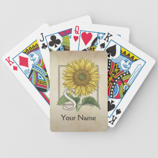 Yellow Sunflower Personalized Monogram Bicycle Playing Cards