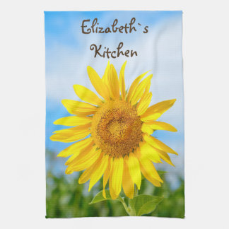 Yellow Sunflower Personalized Name Kitchen Towel