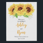"Yellow Sunflower Personalized Wedding Welcome Faux Canvas Print<br><div class=""desc"">Yellow sunflower personalized wedding welcome faux canvas print. This watercolor sunflower personalized wedding welcome faux canvas sign is a good choice for a summer wedding or a fall / autumn wedding. This yellow sunflower flower wedding welcome sign features beautiful watercolor yellow sunflowers with green leaves. This country sunflower wedding welcome...</div>"