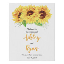 Yellow Sunflower Personalized Wedding Welcome Faux Canvas Print