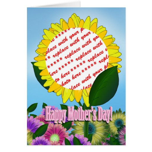 Yellow Sunflower Photo Frame for Mother's Day Card