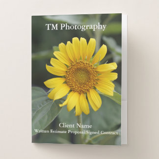Yellow Sunflower Photography Ruled Pocket Folders