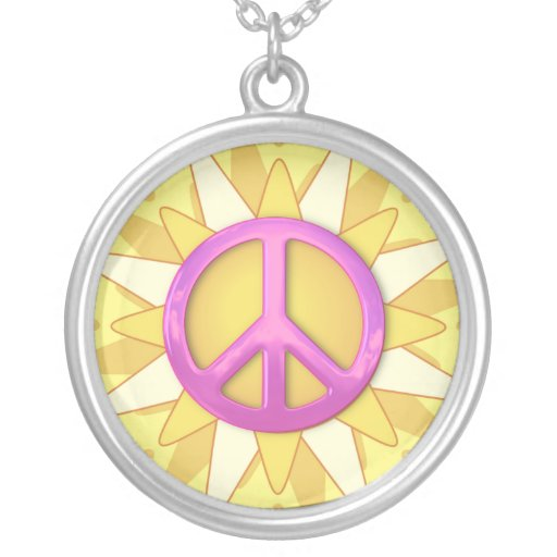 Yellow Sunflower Pink Peace Sign  Necklace