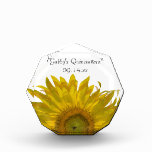 Yellow Sunflower Quincea&#241;era Keepsake Acrylic Award<br><div class='desc'>Customize the pretty Yellow Sunflower Quincea&#241;era Keepsake with the personal name of the 15 year old birthday girl and date of her b-day. Feel free to change the text or font to suit your sweet 15 celebration needs. This custom floral quinceanera keepsake paperweight makes an elegant personalized birthday present. It...</div>