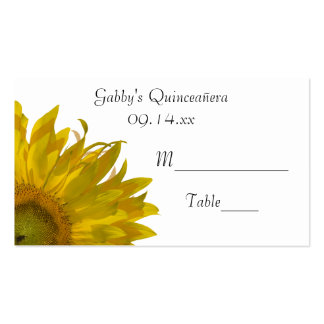Yellow Sunflower Quinceanera Place Card Double-Sided Standard Business Cards (Pack Of 100)