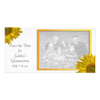 Yellow Sunflower Quinceanera Save the Date Card
