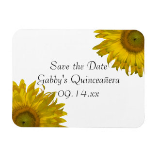 Yellow Sunflower Quinceanera Save the Date Magnet