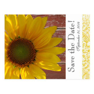 Yellow Sunflower Red Wood save the date Postcard