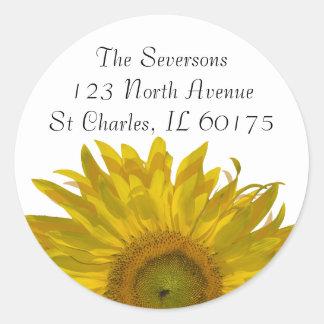 Yellow Sunflower Return Address Classic Round Sticker