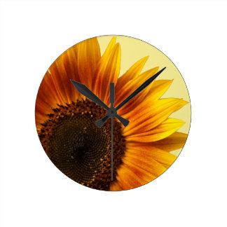 Yellow Sunflower Round Clock