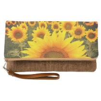 Yellow Sunflower Rustic Harvest Clutch