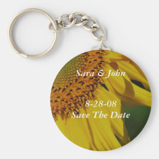 Yellow Sunflower Save The Date Wedding Keychain