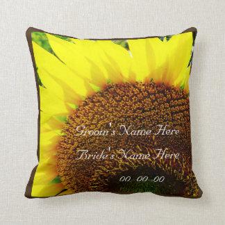 Yellow Sunflower sepia wedding personalize names Throw Pillows