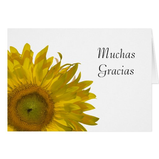 Thank You Notes For Wedding Gifts In Spanish : Yellow Sunflower Spanish Thank You Note Card Zazzle