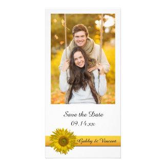 Yellow Sunflower Stripe Wedding Save the Date Card