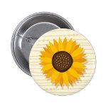 Yellow sunflower, stylized whimsical illustration pin
