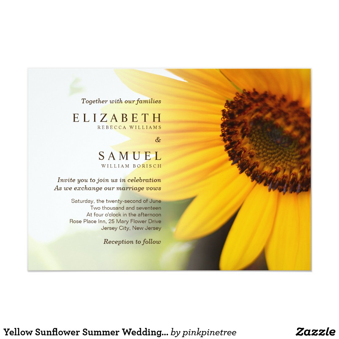 Summer Sunflower Wedding Invitation