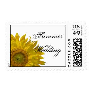 Yellow Sunflower Summer Wedding Postage