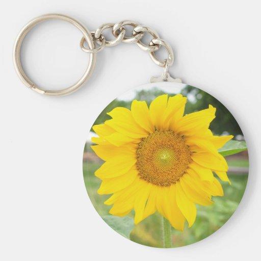 Yellow Sunflower Sun Flower Basic Round Button Keychain