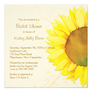 "Yellow Sunflower & Swirls Floral Bridal Shower 5.25"" Square Invitation Card"