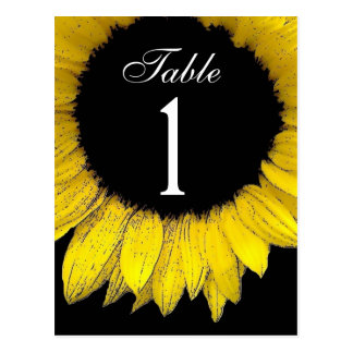 Yellow Sunflower Table Number Part of Set of 12 Postcard