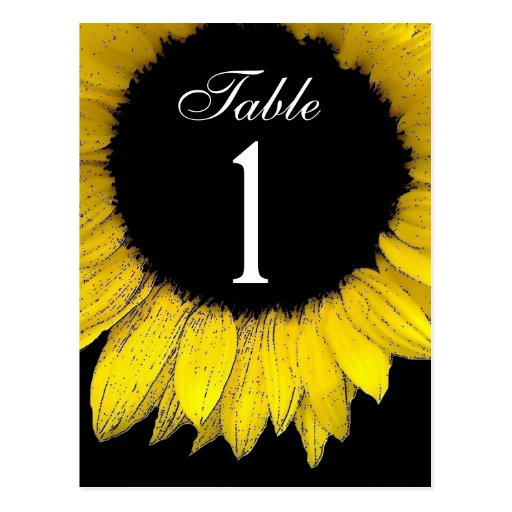 Yellow Sunflower Table Number Part of Set of 12 Postcards