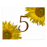 Yellow Sunflower Table Number Post Cards