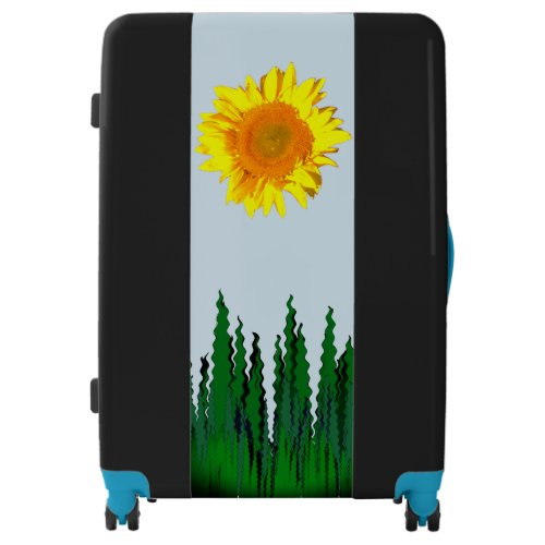 Yellow Sunflower Tall Grass Blue Sky Luggage