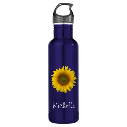 Yellow Sunflower Trendy Floral Personalized Stainless Steel Water Bottle