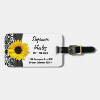 Yellow Sunflower Vintage Damask Floral Tag For Luggage