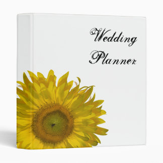 Yellow Sunflower Wedding 3 Ring Binder