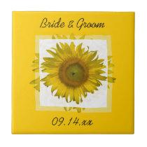 Yellow Sunflower Wedding Ceramic Tile