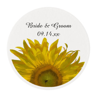Yellow Sunflower Wedding Edible Frosting Rounds