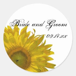 Yellow Sunflower Wedding Envelope Seals Round Sticker